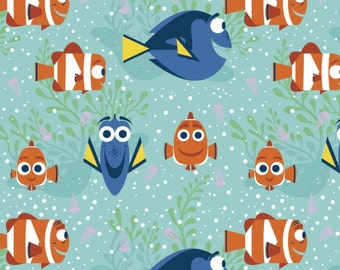 "Disney Fabric - Finding Dory Fabric - All Smiles 100% cotton fabric 43"" wide, G157"
