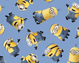 "Despicable Me Minions Fabric - Despicable Me Tossed Minion Blue 100% cotton 43"" fabric by the yard, M37"