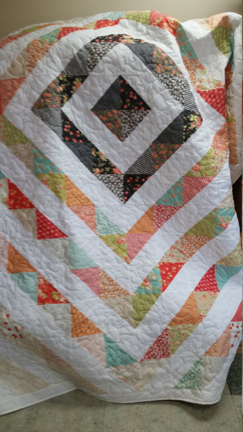 Handmade Queen Size Around The World Quilt Traditional