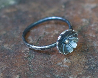 Antiqued Wildflower Ring - Hammered Texture - Sterling Silver
