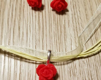 Princess Belle - Red Rose Set of Necklace and Earrings