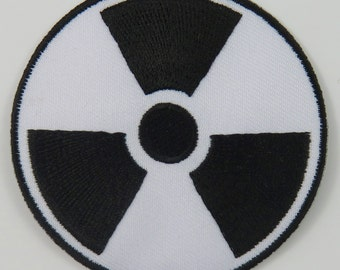 Nuclear Radiation Symbol/Sign (White) Iron On/ Sew On Cloth Patch Badge Appliqué nuke cybergoth cyber punk goth rocker emo rave Size: 6.8cm