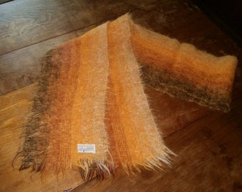 """1960s-70s Vintage MOHAIR Scarf-Gradated Orange-80"""" by 8""""-ALEXANDER'S Made in England"""