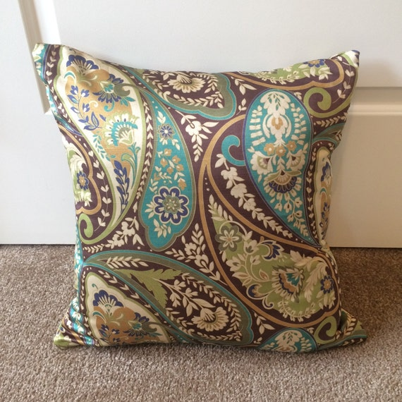 turquoise brown gold and green decorative pillow cover. Black Bedroom Furniture Sets. Home Design Ideas
