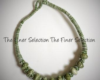 green glass beaded choker necklace