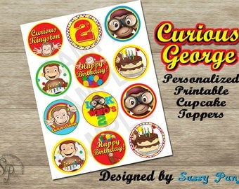 Customized Curious George Cupcake Toppers *NEW COLORS Available: Original -or- Pinks/Purples