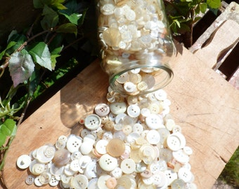 Clear button, old buttons, jar button, recyclable, recycling, upcycling, different size button