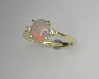 Lightning Ridge Opal ring, Enagagement ring, Opal gold ring
