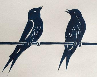 Swallow talk - Lino Print