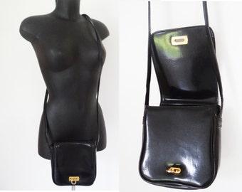 Free Shipping* Festival Bag, Vintage Handbag / Vintage Purse, 1980s, Accessories, Black Bag, Long Strap Bag, Square Bag, Square
