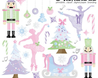 Sugar Plum Princess Digital Clipart - Personal & Commercial Use - Winter Ballet, Christmas Graphics, Nutcracker Images