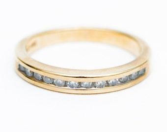 Vintage Wedding Band, 1970's Wedding Band, Channel Set Diamond Ring, 14K Mid-Century Diamond Ring, Stackable Diamond Ring, Diamond Ring