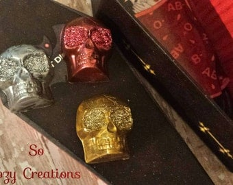 Chocolate Caramel filled Skulls- Halloween Treat!  Artisan Chocolate, Metallic and Glittering Caramel Chocolate Skull! In a Coffin Candy Box