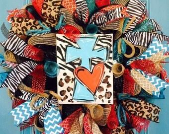 Leopard and Zebra Cross Deco Mesh Wreath