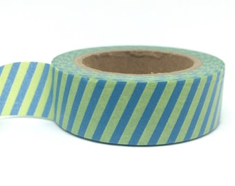Green & Blue Striped Washi Tape