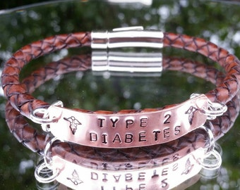 Genuine leather hand Stamped medical alert bracelet, can be made to your requirements and made to measure