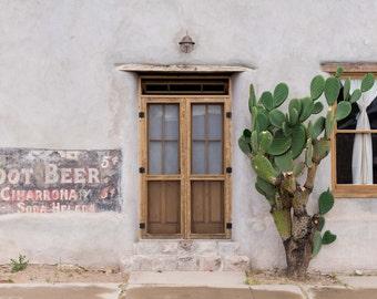 Root Beer, Adobe, Cactus, Desert, Architecture, Wood, Textures, Tucson, Arizona, Print, Wall Art, Photograph, Fine Art, Barrio Viejo