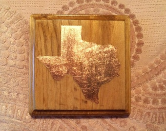 Texas Copper Leaf Wood Plaque