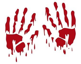 "BLOODY HANDS Zombie Vampire Monster Die Cut Vinyl Decal Sticker - 8"" Red"