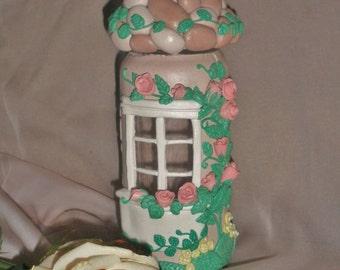 Glass jar decorated with salt dough
