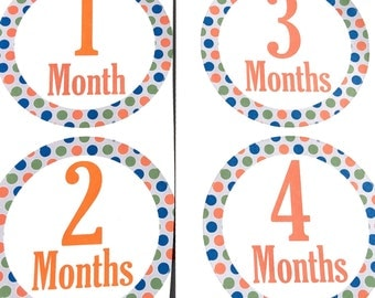 Baby Boy Monthly Onesie Stickers Polka Dot Orange Blue Gray Green