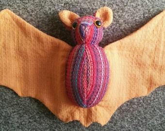 Bright Multicoloured & Peachy Tea Towel Bat
