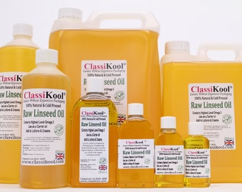Classikool Food Grade & Cold Pressed, Raw Linseed Flaxseed Oil - Pharma EUR Grade (Free UK Mainland Shipping)