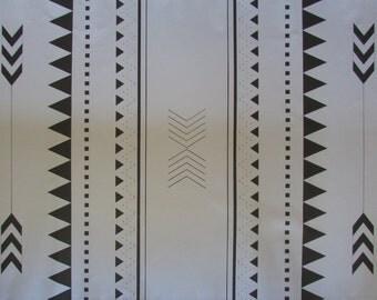 Black and White Navajo Floorcloth