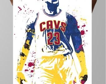 Fan art poster, LeBron James King James Cleveland Cavaliers, Sports art Poster