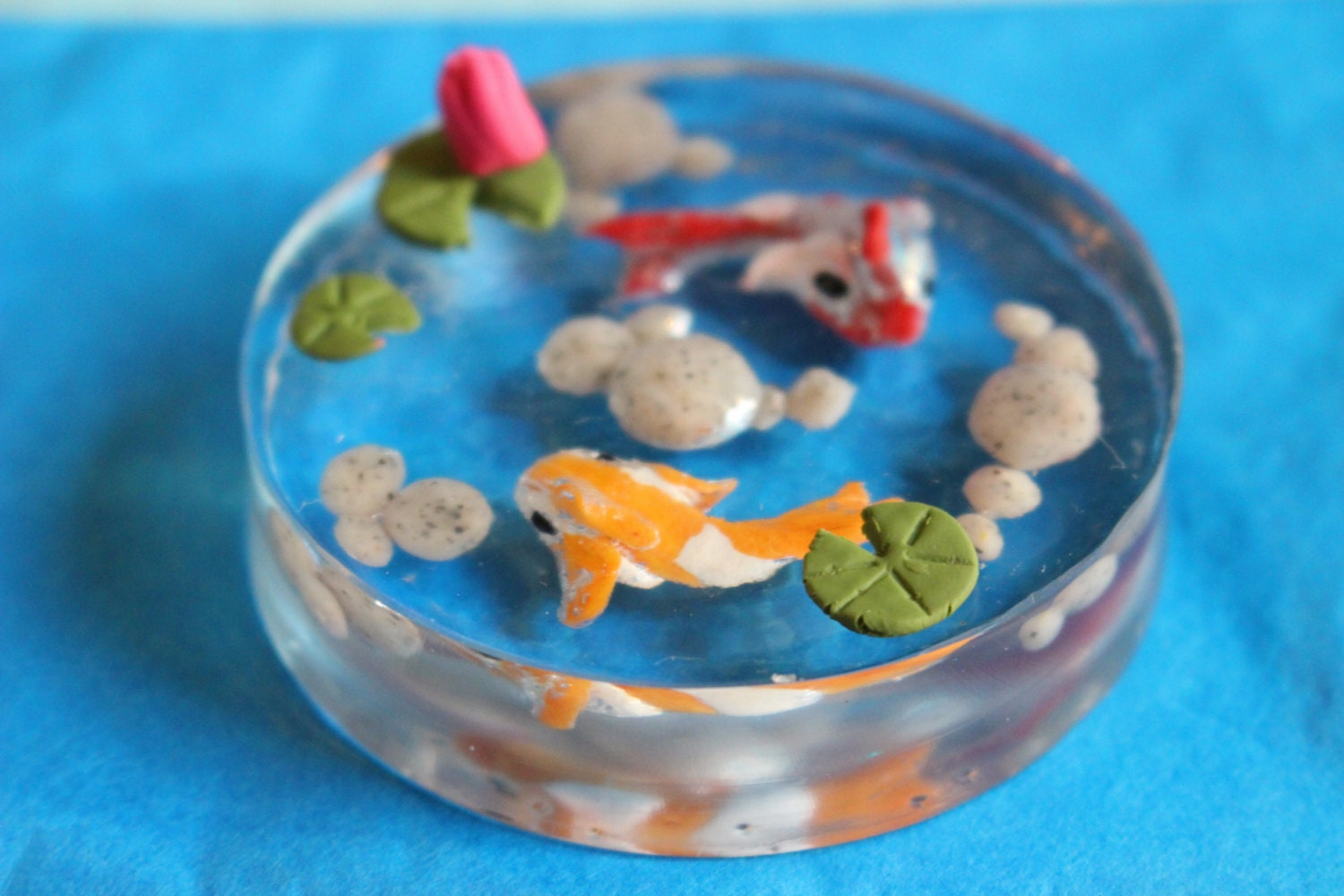 Miniature koi pond resin pond for fairy gardens and miniature for Resin koi fish