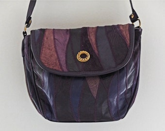 LEATHER PATCHWORK HANDBAG - purple - 80's