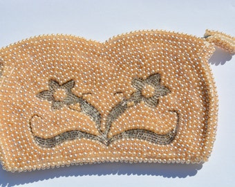 Vintage 1950's or 1960's Beaded Pearl Clutch, Wedding Purse, Elegant Evening Bag