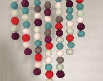 Felt Ball Wall Hanging - Red, Blue & Grey