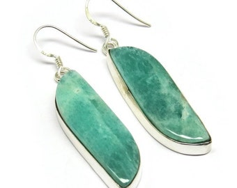 Amazonite Sterling Silver Earrings - 925 Sterling Silver earrings provided in a gift box