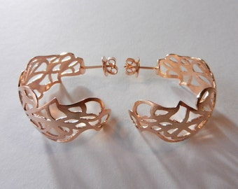 Red gold from 925 - sterling silver hoop earrings