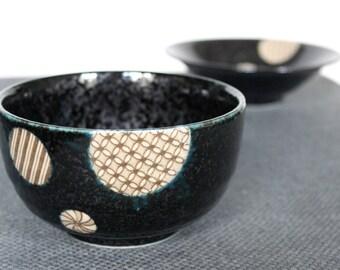Bowl Japanese Style Raku black very nice gift