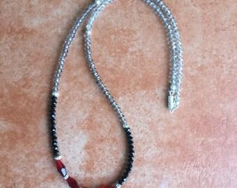 Cherry red, Black and Smoky faceted beads Necklace