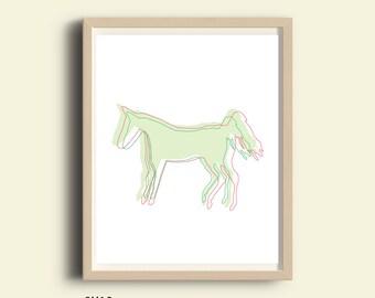 Horse art print, printable, pale green horse art  print, horse silhouette, instant download, horse art print, minimalist horse wall art