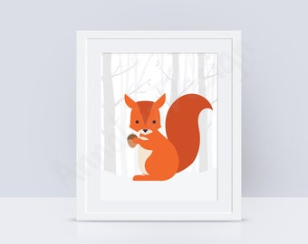 PRINTABLE Squirrel nursery wall art, Woodland animals print, Woodland nursery decor, Baby art prints, INSTANT DOWNLOAD