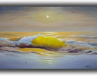 """Original marine landscape oil painting,sea landscape ,wall art painting for home.THE WAVE by Alexey Vylusk. Size 31.5"""" × 19.68""""(50cm x 80cm)"""