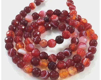 4mm Red Agate Beads, Faceted Agate Beads, Gemstone Beads
