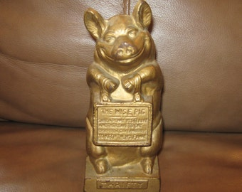 "Hubley Cast Iron ""The Wise Pig"" Still Bank"