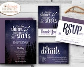 Starry Night Wedding Invitation Set, Printable wedding invitation, Personalized wedding invitation, our love is bright, Stars, Purple