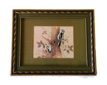 Vintage Bird Art Wall Decor Mid Century Decor Olive Green Framed Art Print Woodpecker 1960s Decor
