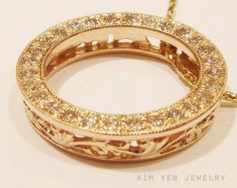 Gold Filigree Eternity Pendant