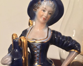 KPM Porcelain Blue Lady Figurine Circa 1900's Antique Figurine