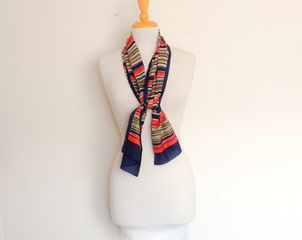 1970s Colourful Striped Long Scarf Vintage