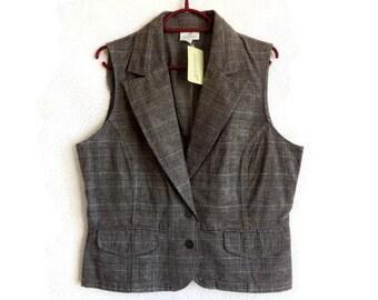 Women's Checkered Vest Brown Waistcoat Women's Clothing Checkered Waistcoat Size 42 Cotton Vest Natural Women's Vest New Waistcoat
