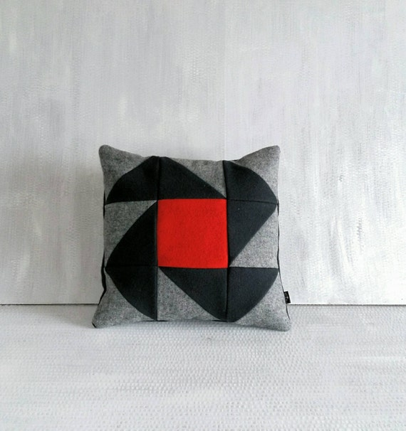 Modern Patchwork Pillow : Modern patchwork pillow case from wool. Red center. Baltic