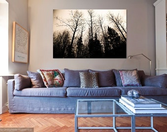 Winter Skyline- Digital File, Sepia, Home Decor, Wall Art